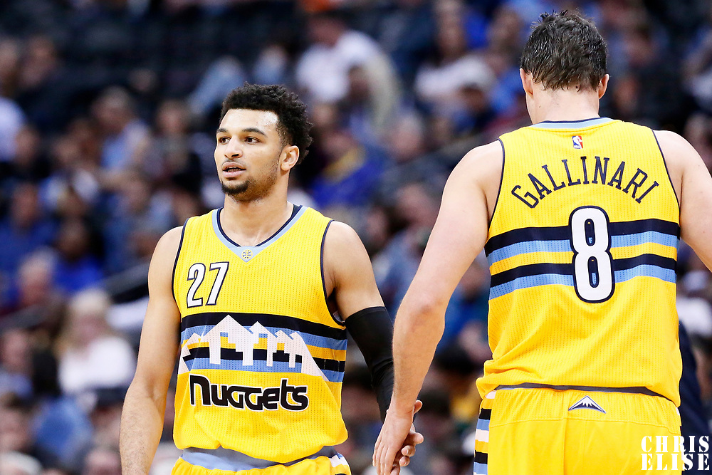 04 March 2017: Denver Nuggets guard Jamal Murray (27) is congratulated by Denver Nuggets forward Danilo Gallinari (8) during the Charlotte Hornets 112-102 victory over the Denver Nuggets, at the Pepsi Center, Denver, Colorado, USA.