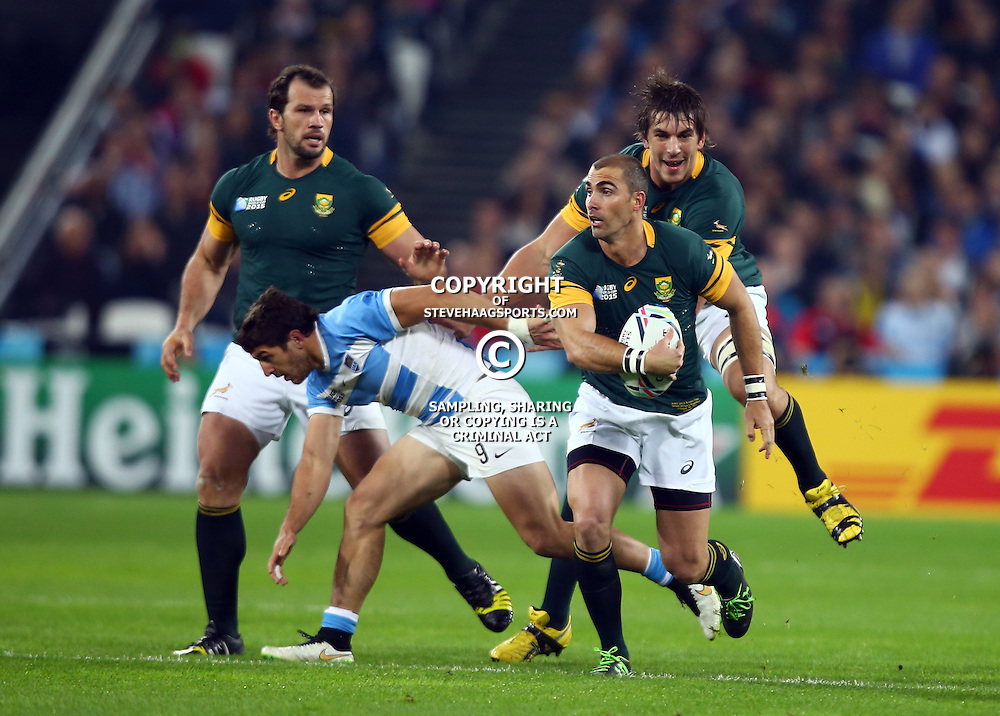 LONDON, ENGLAND - OCTOBER 30: Ruan Pienaar of South Africa during the Rugby World Cup 3rd Place Playoff match between South Africa and Argentina at Olympic Stadium on October 30, 2015 in London, England. (Photo by Steve Haag/Gallo Images)