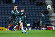 Leeds United midfielder Jack Harrison (22) warming up during the EFL Sky Bet Championship match between Preston North End and Leeds United at Deepdale, Preston, England on 22 October 2019.
