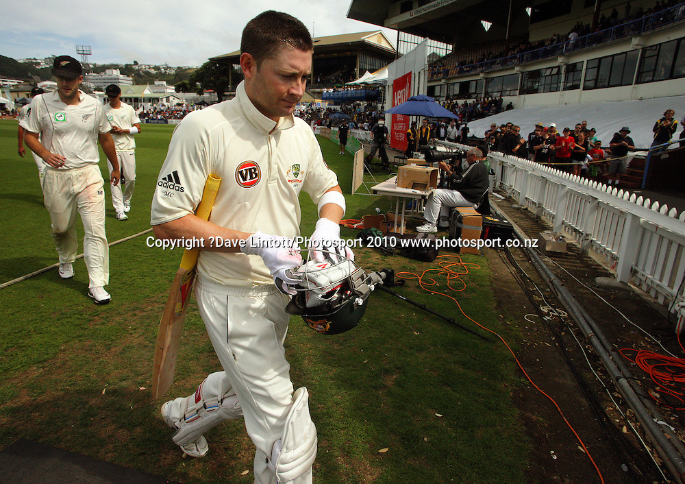 Australia's Michael Clarke walks off for lunch.<br /> 1st cricket test match - New Zealand Black Caps v Australia, day two at the Basin Reserve, Wellington.Saturday, 20 March 2010. Photo: Dave Lintott/PHOTOSPORT