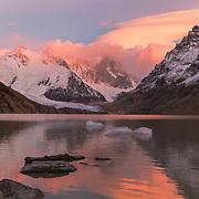 Colorful sunrise over Cerro Torre in Argentina Patagonia - 18 x 12