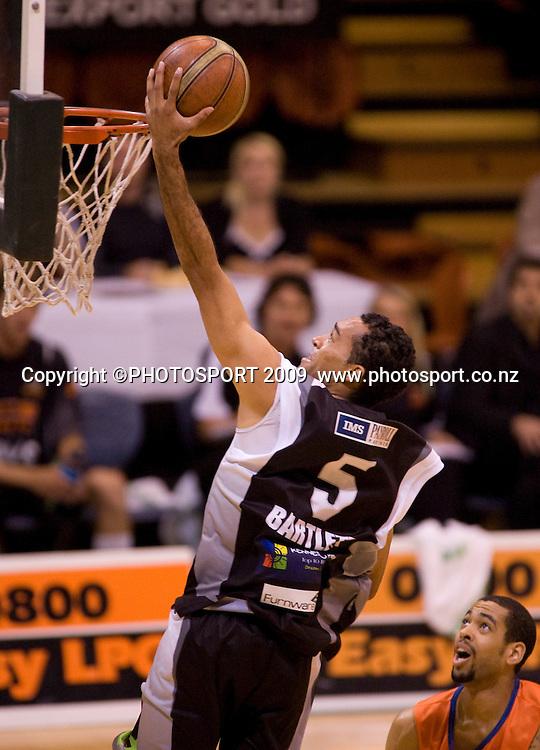 Hawk's Everard Bartlett lays up two points. Hawkes Bay Hawks v Southland Sharks. National Basketball League. Pettigrew Green Arena, Napier, New Zealand. Friday 19 March 2010. Photo: John Cowpland/PHOTOSPORT