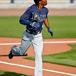 February 25, 2011; Port Charlotte, FL, USA; Tampa Bay Rays center fielder B.J. Upton (2) during a spring raining split squad scrimmage at Charlotte Sports Park.  Mandatory Credit: Derick E. Hingle