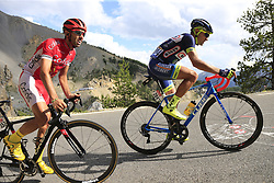 Marco Minnaard (NED) Wanty-Groupe Gobert and Daniel Navarro (ESP) Cofidis climb through the Caisse Deserte on Col d'Izoard during Stage 18 of the 104th edition of the Tour de France 2017, running 179.5km from Briancon to the summit of Col d'Izoard, France. 20th July 2017.<br /> Picture: Eoin Clarke | Cyclefile<br /> <br /> All photos usage must carry mandatory copyright credit (© Cyclefile | Eoin Clarke)