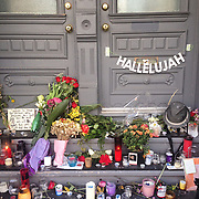 A makeshift tribute on the steps of Leonard Cohen's house in Montreal following his passing.