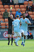 Accrington Stanley Forward, Billy Kee (29) shown a yellow card, booked  during the EFL Sky Bet League 1 match between Blackpool and Accrington Stanley at Bloomfield Road, Blackpool, England on 25 August 2018.