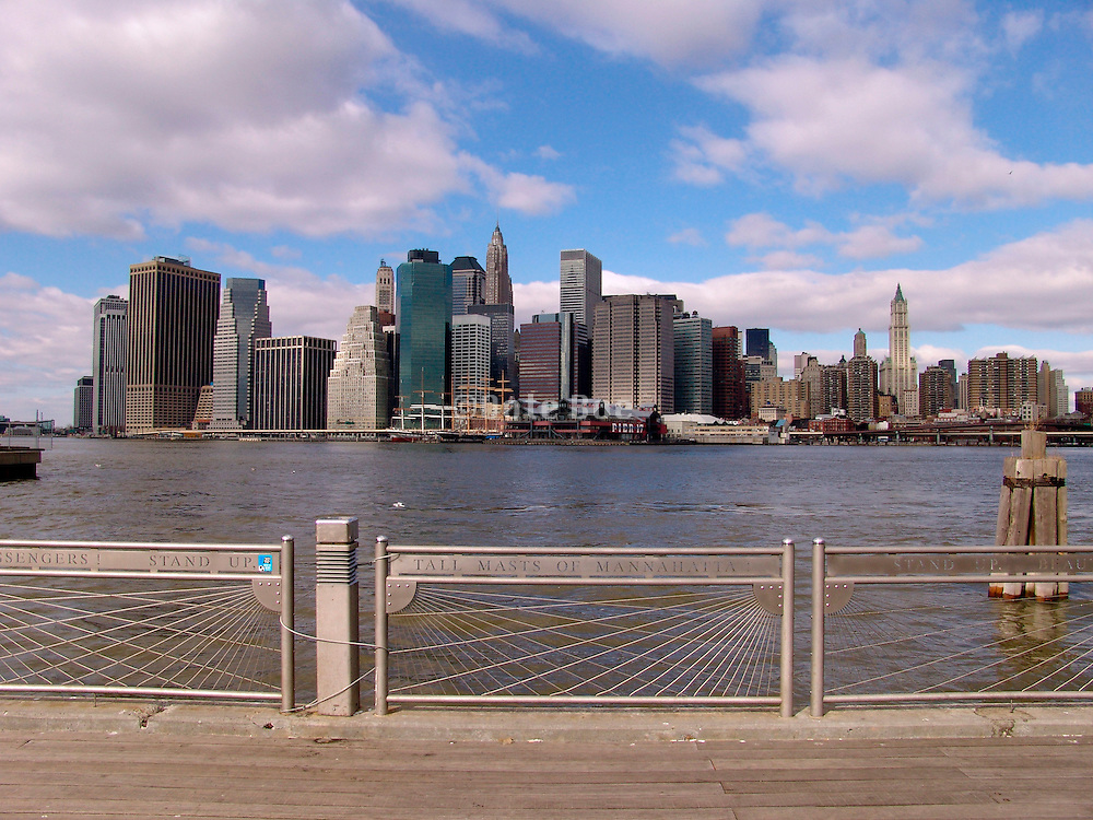 Skyline of downtown New York City seen from the Brooklyn site.