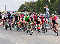 A view of the peloton as they cross Hampton Court Bridge in the Prudential RideLondon-Surrey Classic 30/07/2017<br /> <br /> Photo: Dave Shopland/Silverhub for Prudential RideLondon<br /> <br /> Prudential RideLondon is the world's greatest festival of cycling, involving 100,000+ cyclists – from Olympic champions to a free family fun ride - riding in events over closed roads in London and Surrey over the weekend of 28th to 30th July 2017. <br /> <br /> See www.PrudentialRideLondon.co.uk for more.<br /> <br /> For further information: media@londonmarathonevents.co.uk