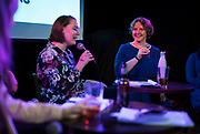 "Abigail Becker introduces Mayor-elect Satya Rhodes-Conway during the live taping of the ""Madsplainers"" Podcast at High Noon Saloon in Madison, WI on Tuesday, April 9, 2019."