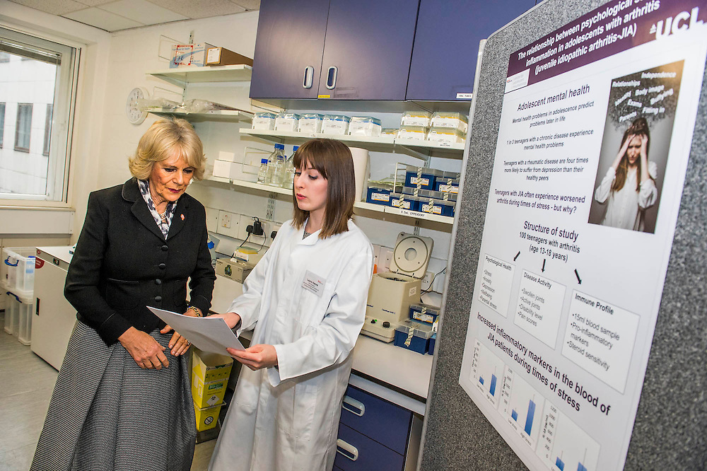 Her Royal Highness in the lab with researchers (Here with Laura Hanns) and looking at specemins through a microscope. The Duchess of Cornwall, Patron, Arthritis Research UK, visits and meets patients of the Adolescent Inpatient Unit at University College London Hospitals.  •	Her Royal Highness then tours a laboratory at the Arthritis Research UK Centre for Adolescent Rheumatology and meeting researchers and supporters. London 12 Feb 2015.