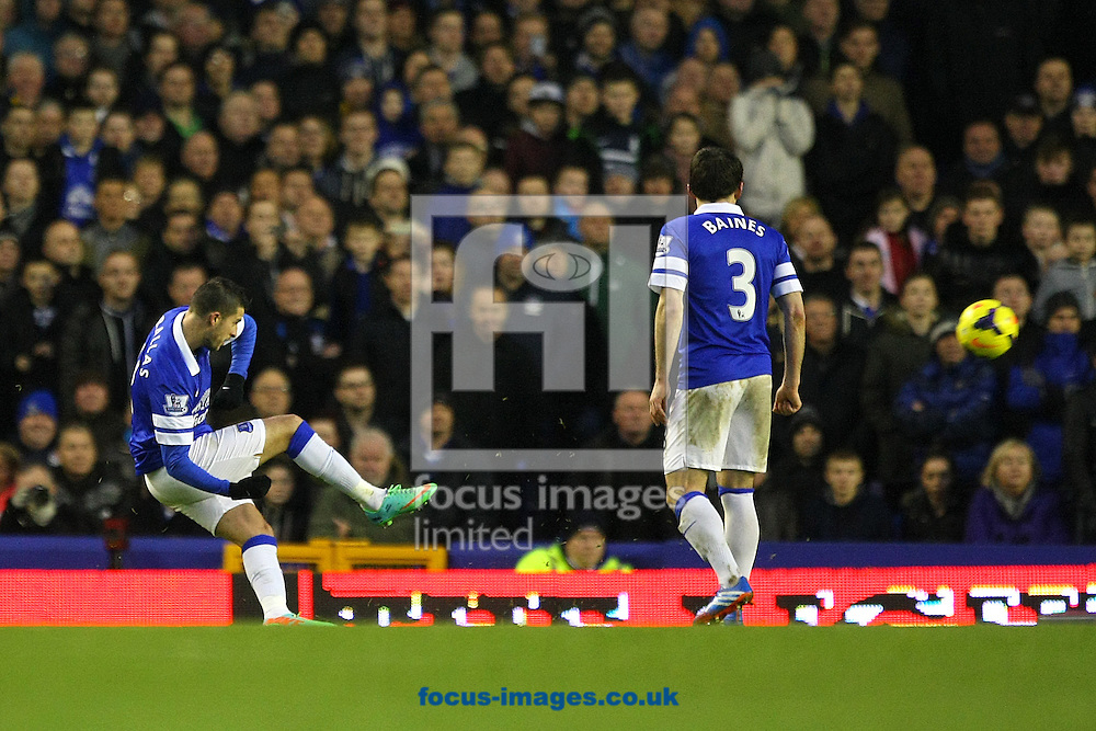 Picture by Paul Chesterton/Focus Images Ltd +44 7904 640267<br /> 11/01/2014<br /> Kevin Mirallas of Everton scores his sides 2nd goal from a free kick and celebrates during the Barclays Premier League match at Goodison Park, Liverpool.