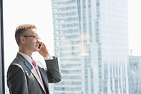 Mature businessman talking on cell phone by window