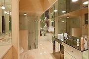 Luxurious glass bathroom interior of villa