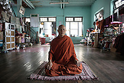 Wirathu , the abbot of the most important monastery in Mandalay Ma Soe Yane . The monk , who calls himself the Osama bin Laden of the Buddhists , is the face of a xenophobic anti- Muslim monks movement.<br /> Sittwe, Myanmar July 2016 @Giulio Di Sturco