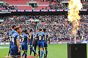 AFC Wimbledon promotion to League One, after beating Players walk out onto the pitch before  the Sky Bet League 2 play off final match between AFC Wimbledon and Plymouth Argyle at Wembley Stadium, London, England on 30 May 2016. Photo by Stuart Butcher.