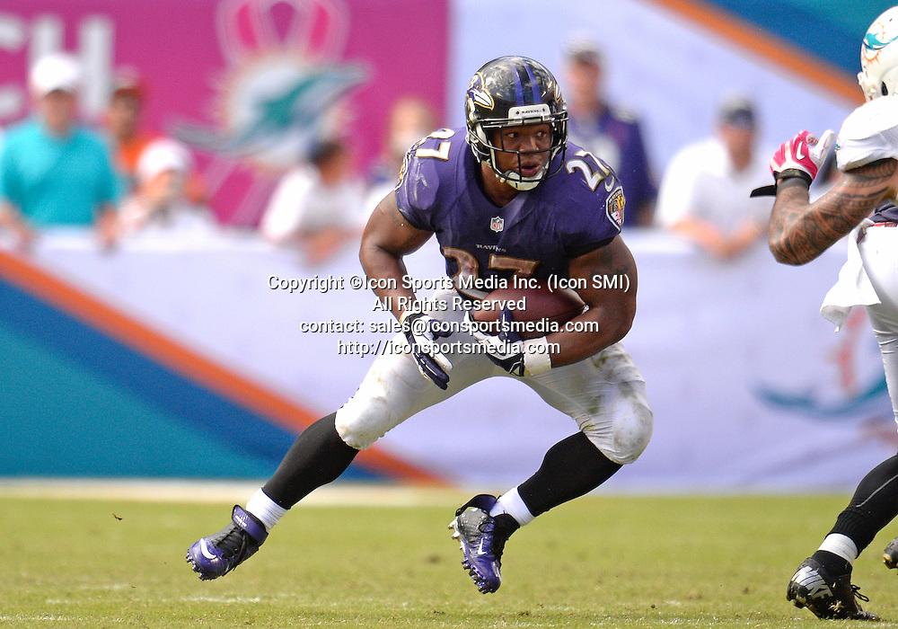 06 October 2013: Baltimore Ravens running back Ray Rice (27) runs against the Miami Dolphins in Baltimore's 26-23 victory at Sun Life Stadium, Miami, Florida.