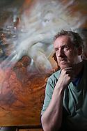 Artist, Peter Howson in his Glasgow studio.