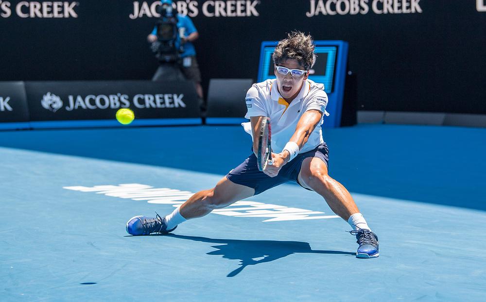 Hyeon Chung of South Korea on day ten of the 2018 Australian Open in Melbourne Australia on Wednesday January 24, 2018.<br /> (Ben Solomon/Tennis Australia)