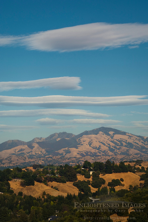Lenticular clouds over Mount Diablo, as seen from Lafayette, California