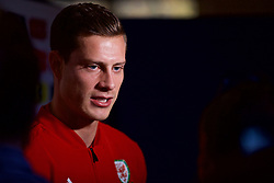 CARDIFF, WALES - Tuesday, November 13, 2018: Wales' James Lawrence is interviewed during a media session at the St Fagans National Museum of History ahead of the UEFA Nations League Group Stage League B Group 4 match between Wales and Denmark. (Pic by David Rawcliffe/Propaganda)