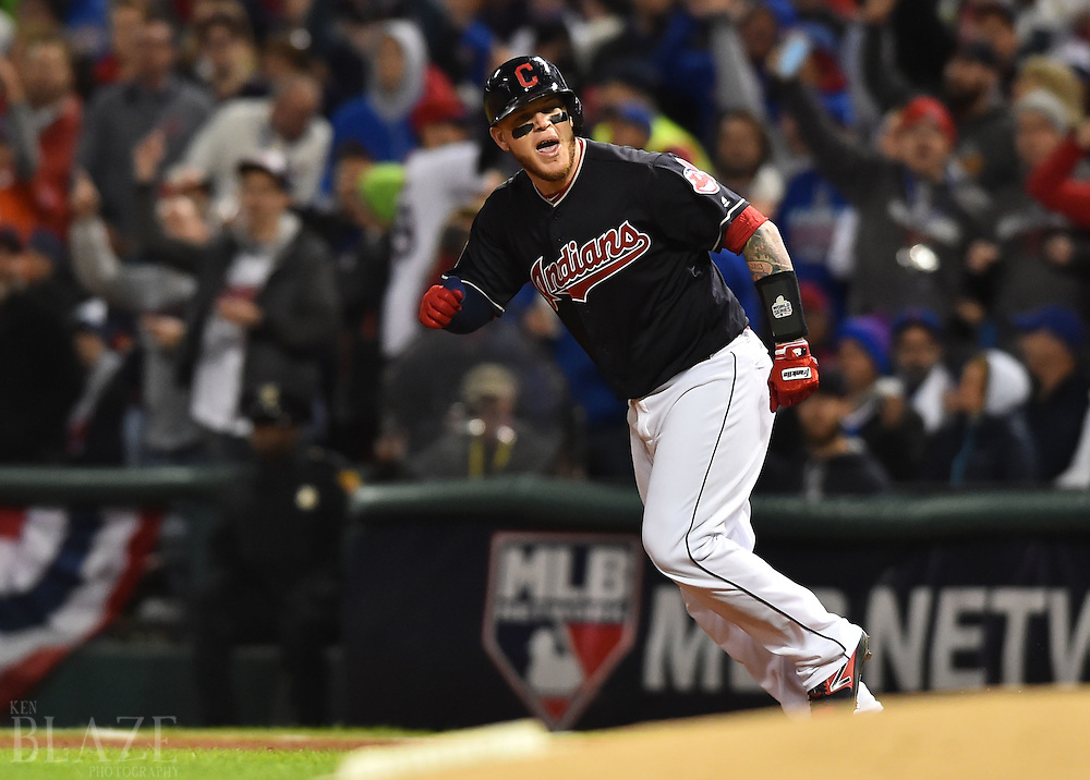 Oct 25, 2016; Cleveland, OH, USA; Cleveland Indians catcher Roberto Perez reacts after hitting a solo home run against the Chicago Cubs in the fourth inning in game one of the 2016 World Series at Progressive Field. Mandatory Credit: Ken Blaze-USA TODAY Sports