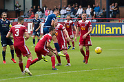 10th August 2019; Dens Park, Dundee, Scotland; SPFL Championship football, Dundee FC versus Ayr; Andrew Nelson of Dundee scores for 1-0 in the 73rd minute