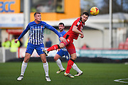 Crawley Town forward James Collins (19) and Hartlepool United defender Scott Harrison (26) in action during the EFL Sky Bet League 2 match between Crawley Town and Hartlepool United at the Checkatrade.com Stadium, Crawley, England on 14 January 2017. Photo by David Charbit.