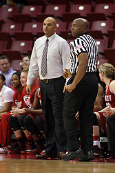 30 January 2015:  Kevin Dillard attempts to get to the other side of Michael Brooks during an NCAA women's basketball game between the Bradley Braves and the Illinois Sate Redbirds at Redbird Arena in Normal IL