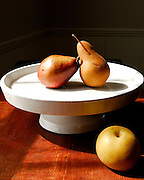 Still life Pears and apples on wooden table