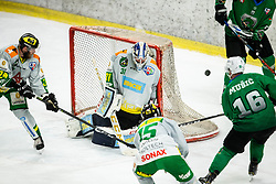 Ales Music of Olimpija vs Lukas Reihs of Lustenau during Ice Hockey match between HK SZ Olimpija and EHC Alge Elastic Lustenau in Semifinal of Alps Hockey League 2018/19, on April 1, 2019, in Arena Tivoli, Ljubljana, Slovenia. Photo by Vid Ponikvar / Sportida
