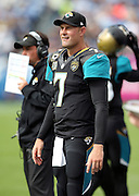 Jacksonville Jaguars quarterback Chad Henne (7) looks on from the sideline the NFL week 6 regular season football game against the Tennessee Titans on Sunday, Oct. 12, 2014 in Nashville, Tenn. The Titans won the game 16-14. ©Paul Anthony Spinelli