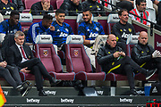 Ole Gunnar Solskjaer, Manager of Manchester United with a view from the bench during the Premier League match between West Ham United and Manchester United at the London Stadium, London, England on 22 September 2019.