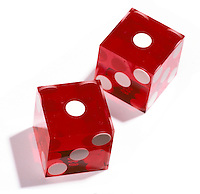 Snake eye red dice on white background