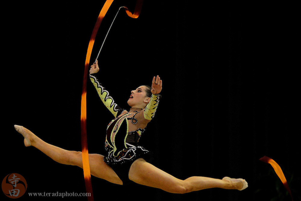 June 26, 2012; San Jose, CA, USA; Jane Braverman performs with the ribbon during the all-around prelims and event finals of the 2012 USA Gymnastics Championships for rhythmic gymnastics at San Jose Convention Center.