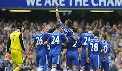 Chelsea's Didier Drogba is carried of the pitch by team mates. - Photo mandatory by-line: Alex James/JMP - Mobile: 07966 386802 - 24/05/2015 - SPORT - Football - London - Stamford Bridge - Chelsea v Sunderland - Barclays Premier League