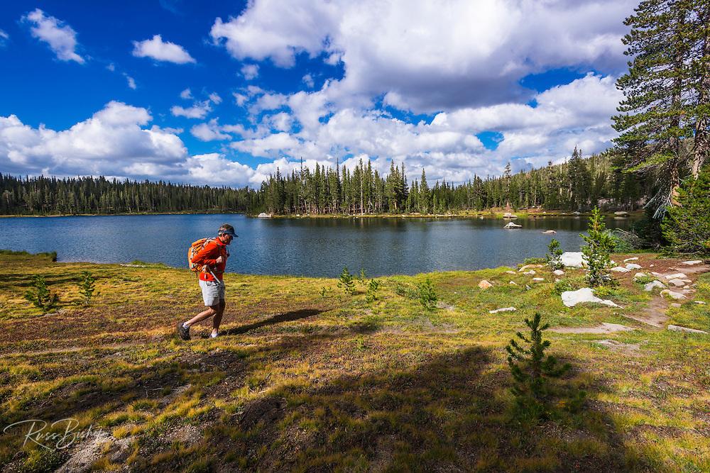 Hiker at Elizabeth Lake, Tuolumne Meadows, Yosemite National Park, California USA