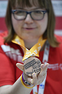 Abu Dhabi, United Arab Emirates - 2019 March 15: Patrycja Scheibe from Poland took third place and bronze medal in roller skating during Special Olympics World Games Abu Dhabi 2019 on March 15, 2019 in Abu Dhabi, United Arab Emirates. (Mandatory Credit: Photo by (c) Adam Nurkiewicz)