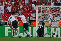 Photo: Glyn Thomas.<br />England v Trinidad & Tobago. Group B, FIFA World Cup 2006. 15/06/2006.<br /> England's Steven Gerrard (L) celebrates after scoring his team's second goal.