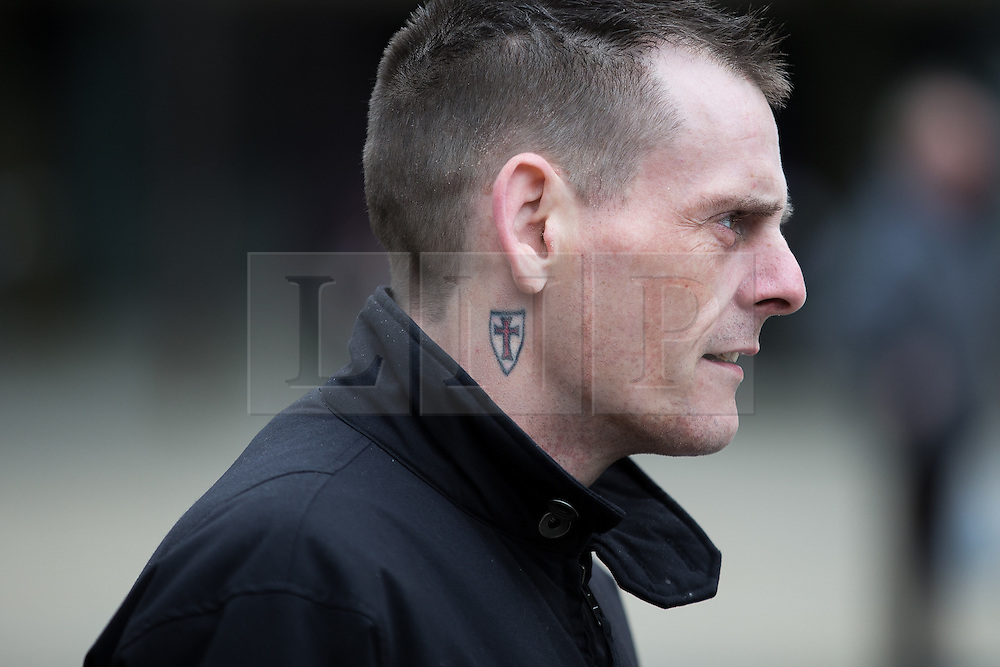© Licensed to London News Pictures . 25/05/2016 . Bolton , UK . Man with St George's Cross shield tattoo . The UKIP referendum bus tour , campaigning for a UK Brexit , lead by Nigel Farage , in Victoria Square , Bolton . Photo credit : Joel Goodman/LNP