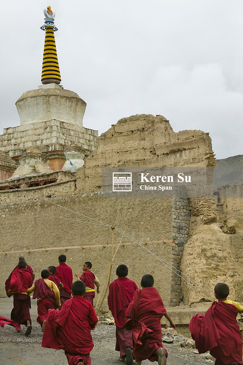 Monks in Lamayuru Gompa in the Himalayas, Ladakh, India