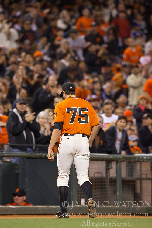 SAN FRANCISCO, CA - MAY 03:  Barry Zito #75 of the San Francisco Giants leaves the field after being relieved against the Los Angeles Dodgers during the sixth inning at AT&T Park on May 3, 2013 in San Francisco, California. (Photo by Jason O. Watson/Getty Images) *** Local Caption *** Barry Zito