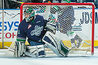 KELOWNA, CANADA - APRIL 25: Carl Stankowski #1 of the Seattle Thunderbirds defends the net against the Kelowna Rockets on April 25, 2017 at Prospera Place in Kelowna, British Columbia, Canada.  (Photo by Marissa Baecker/Shoot the Breeze)  *** Local Caption ***