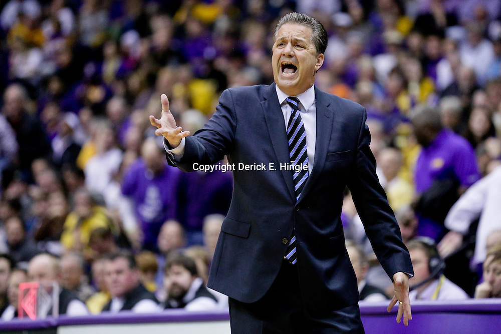 Jan 5, 2016; Baton Rouge, LA, USA; Kentucky Wildcats head coach John Calipari during the first half of a game against the LSU Tigers at the Pete Maravich Assembly Center. Mandatory Credit: Derick E. Hingle-USA TODAY Sports