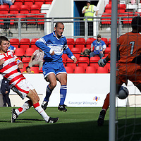 St Johnstone v Hamilton Accies.... 19.08.06<br />Paul Sheerin's shot beats keeper Raymond Jellema but hits the post<br /><br />Picture by Graeme Hart.<br />Copyright Perthshire Picture Agency<br />Tel: 01738 623350  Mobile: 07990 594431