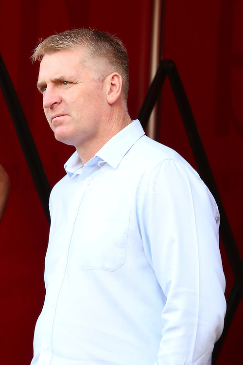 Brentford Manager Dean Smith standing during the EFL Sky Bet Championship match between Brentford and Nottingham Forest at Griffin Park, London, England on 16 August 2016. Photo by Matthew Redman.