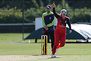 Lancashire Thunders Sophie Ecclestone wicket during the Vitality T20 Blast North Group match between Lancashire Thunder and Yorkshire Vikings at Liverpool Cricket Club, Liverpool, United Kingdom on 13 August 2019.