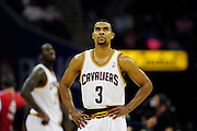 Feb. 5, 2011; Cleveland, OH, USA; Cleveland Cavaliers point guard Ramon Sessions (3) looks at the score board during the second quarter against the Portland Trail Blazers at Quicken Loans Arena. Mandatory Credit: Jason Miller-US PRESSWIRE