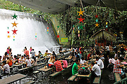 "Amazing Waterfall Restaurant<br /> <br /> Villa Escudero Resort is located in Quezon Province, Philippines, offering a vast hacienda filled with comfortable rooms, and a museum of curious things. Perhaps the most curious thing at the villa is the amazing Waterfalls Restaurant, where lunch is served against an impressive backdrop of thundering clear spring water. Grass fringed buffet stations and bamboo dining tables stand steadily in just inches of flowing river water from the sparkling falls, as it washes around the feet of diners enjoying delicious local dishes.<br /> <br /> The experience of dining as water is running over your feet would certainly create a memorable holiday moment, and possibly one of your most unusual experiences ever, as they boast this ""is a truly singular and memorable experience only Villa Escudero can offer.""<br /> ©Villa Escudero Resort/Exclusivepix"