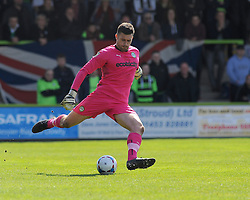 Forest Green Rovers's Steve Arnold clears the ball. - Photo mandatory by-line: Nizaam Jones - Mobile: 07966 386802 - 11/04/2015 - SPORT - Football - Nailsworth - The New Lawn - Forest Green Rovers v Macclesfield Town - Vanarama Football Conference