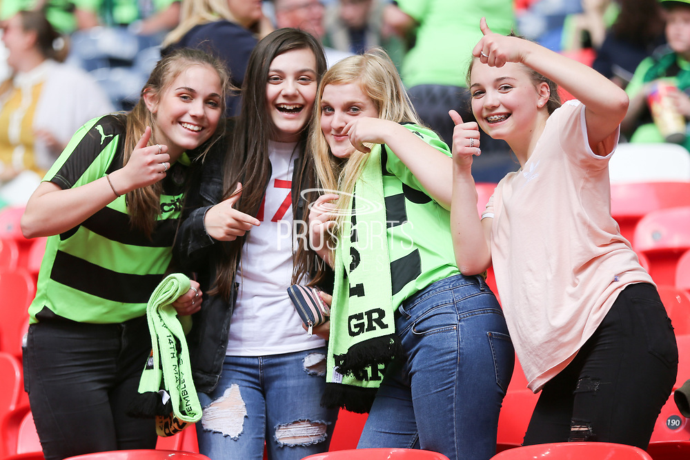 Forest Green Rovers supporters during the Vanarama National League Play Off Final match between Tranmere Rovers and Forest Green Rovers at Wembley Stadium, London, England on 14 May 2017. Photo by Shane Healey.
